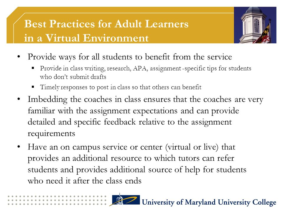 Best Practices for Adult Learners in a Virtual Environment