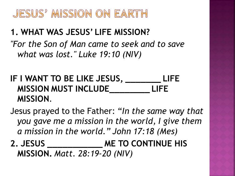 JESUS' MISSION ON EARTH