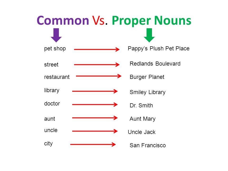 Common Vs. Proper Nouns pet shop Pappy's Plush Pet Place street