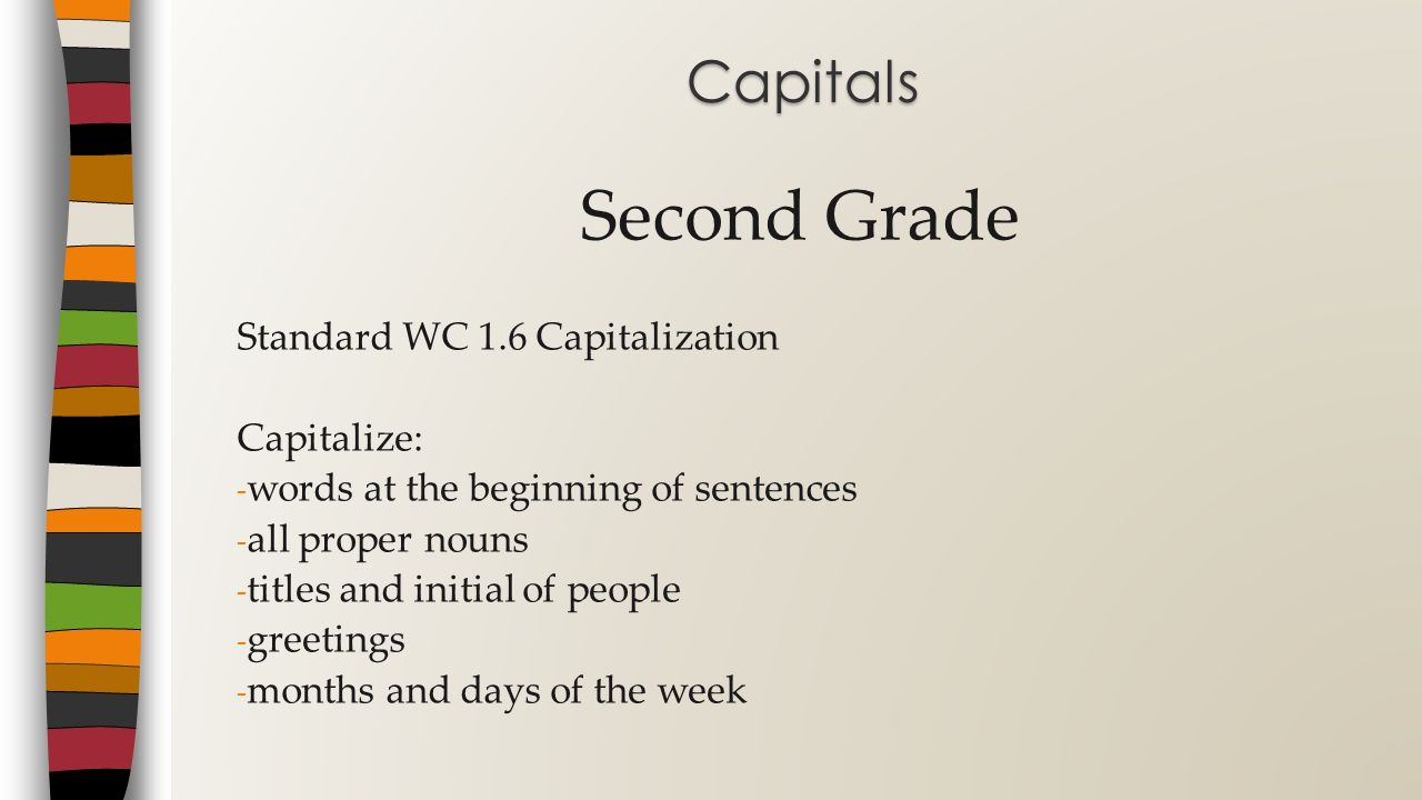 Second Grade Capitals Standard WC 1.6 Capitalization Capitalize: