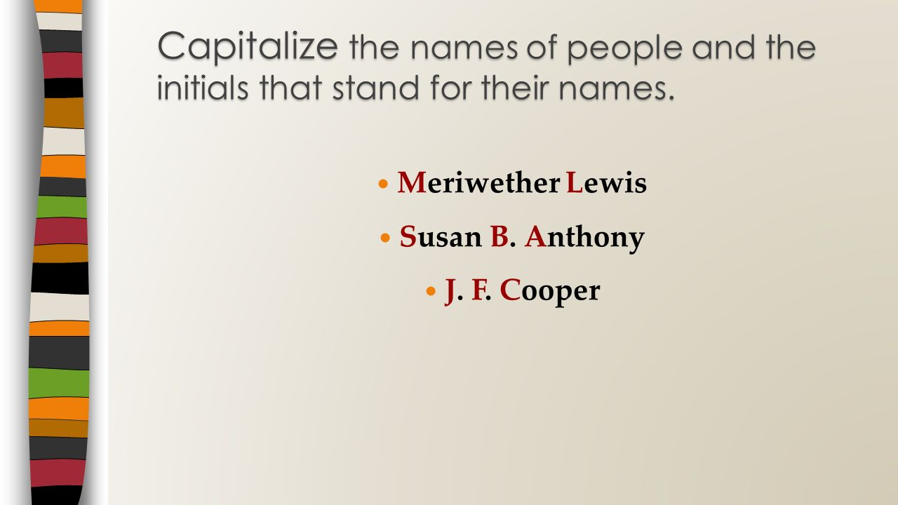 Capitalize the names of people and the initials that stand for their names.