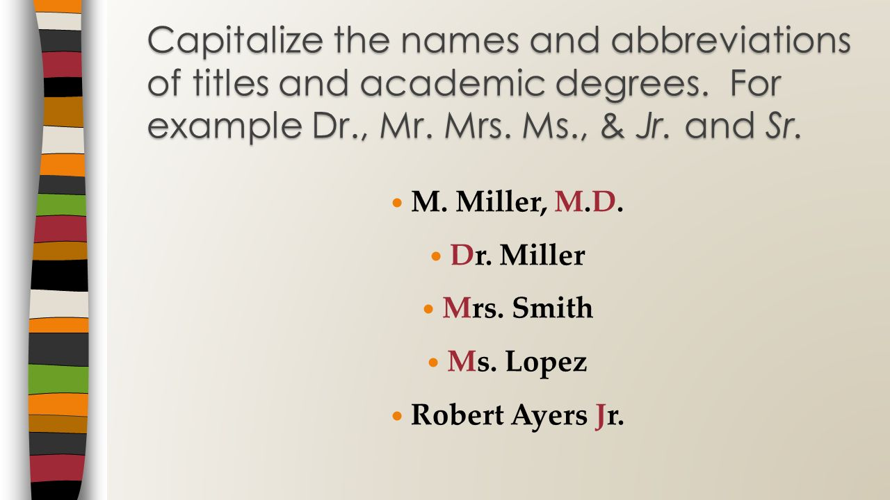 Capitalize the names and abbreviations of titles and academic degrees