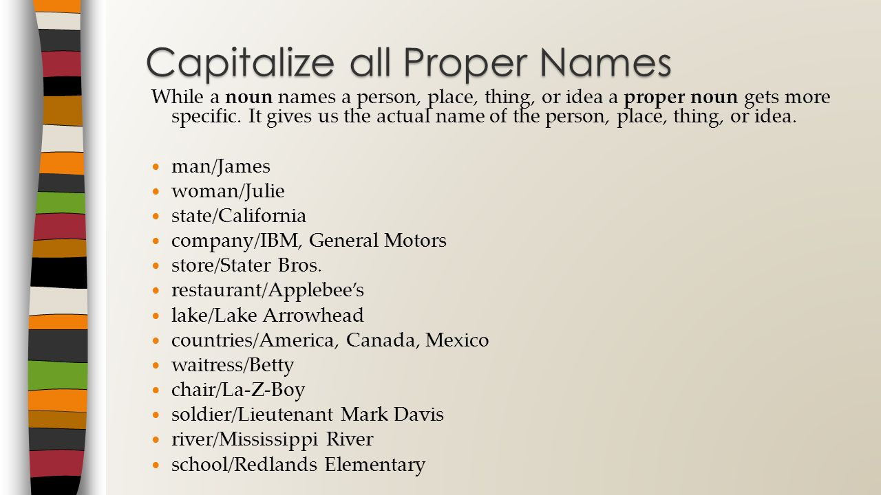 Capitalize all Proper Names