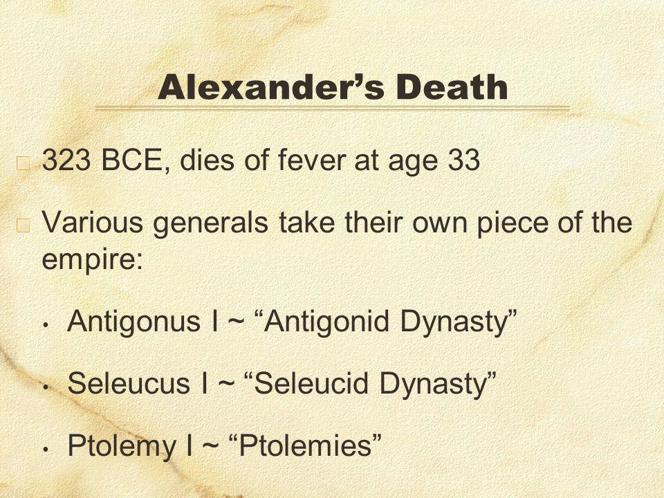 Alexander's Death 323 BCE, dies of fever at age 33