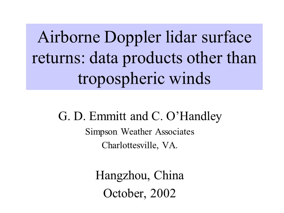 Airborne Doppler lidar surface returns: data products other than tropospheric winds