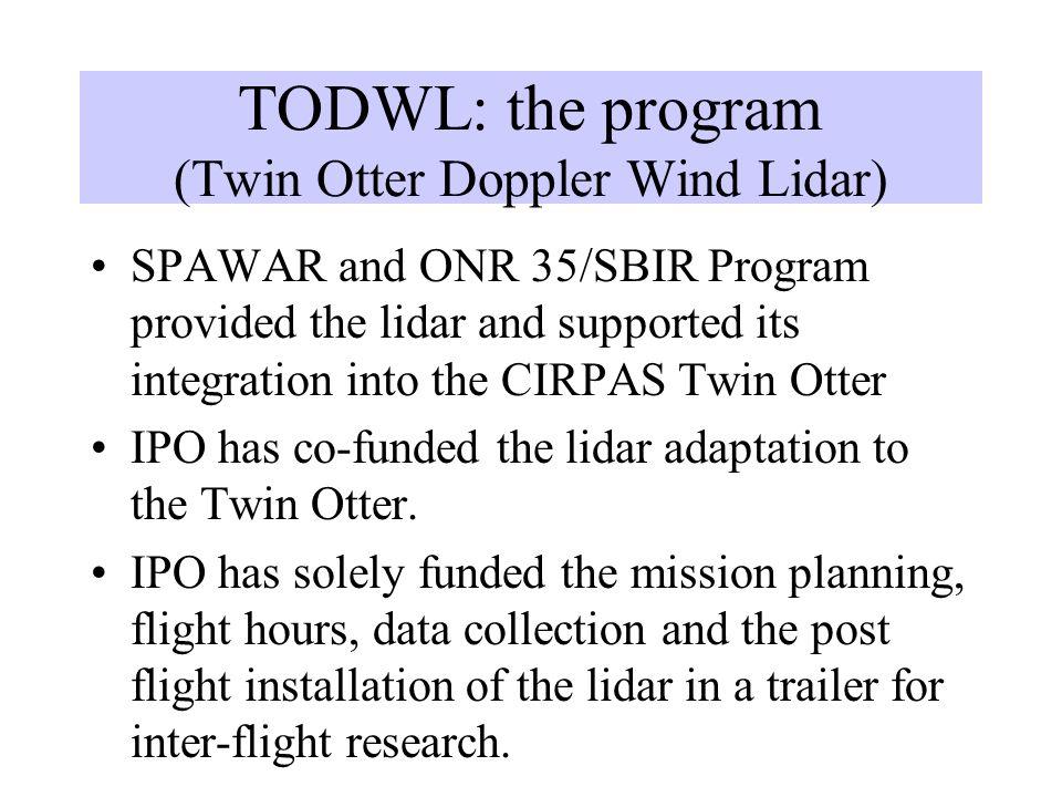 TODWL: the program (Twin Otter Doppler Wind Lidar)