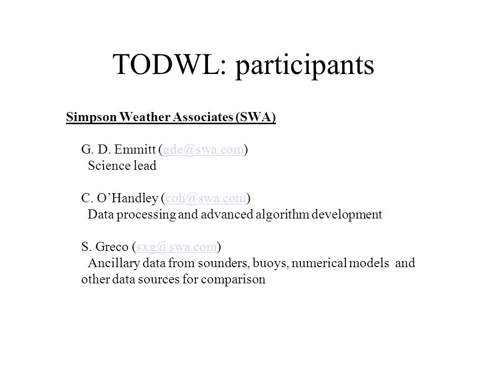 TODWL: participants
