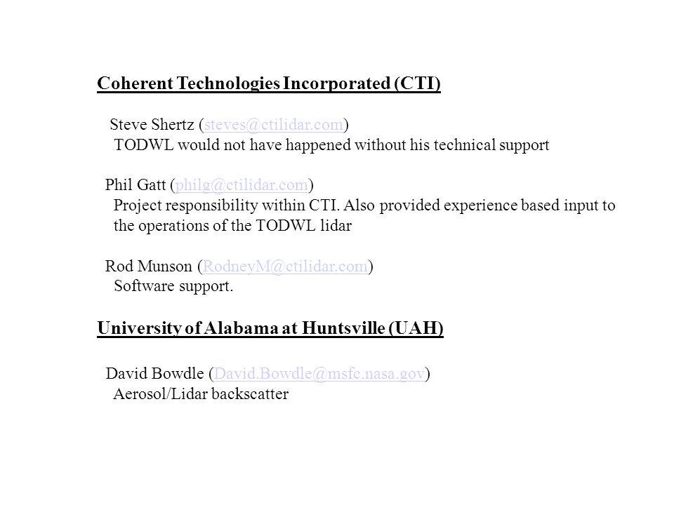 Coherent Technologies Incorporated (CTI) Steve Shertz (steves@ctilidar