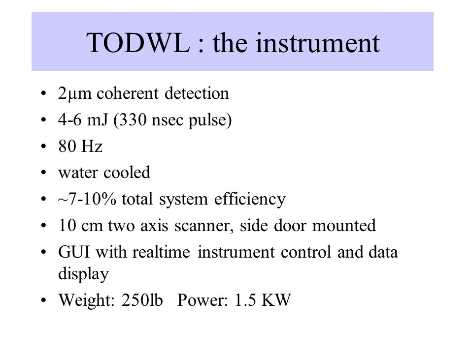 TODWL : the instrument 2µm coherent detection 4-6 mJ (330 nsec pulse)