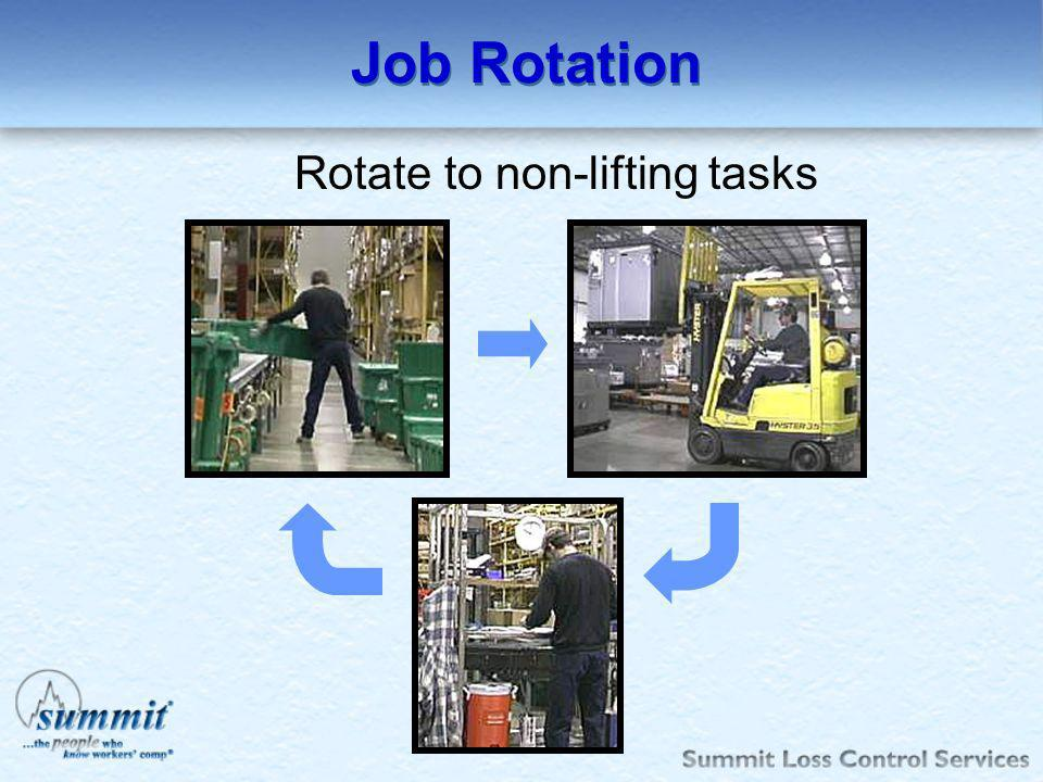 Job Rotation Rotate to non-lifting tasks