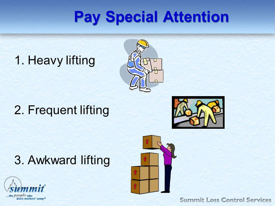Pay Special Attention 1. Heavy lifting 2. Frequent lifting