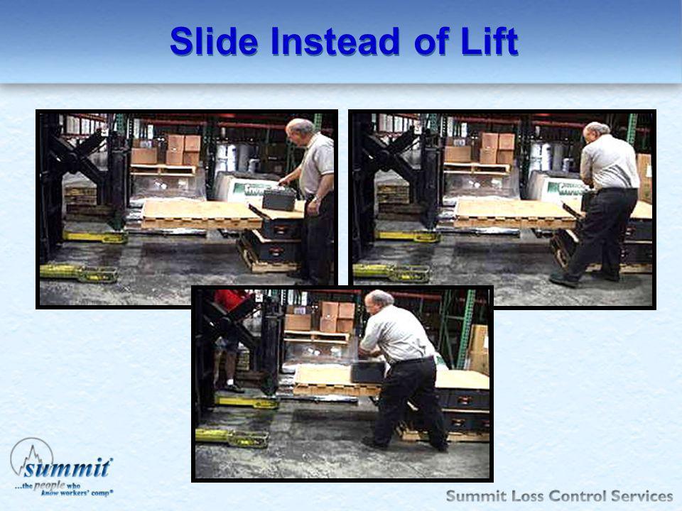 Slide Instead of Lift Slide 75 lb car batteries – also use fork lift to lift pallet to waist level to slide onto pallet.