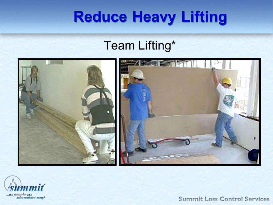Reduce Heavy Lifting Team Lifting*