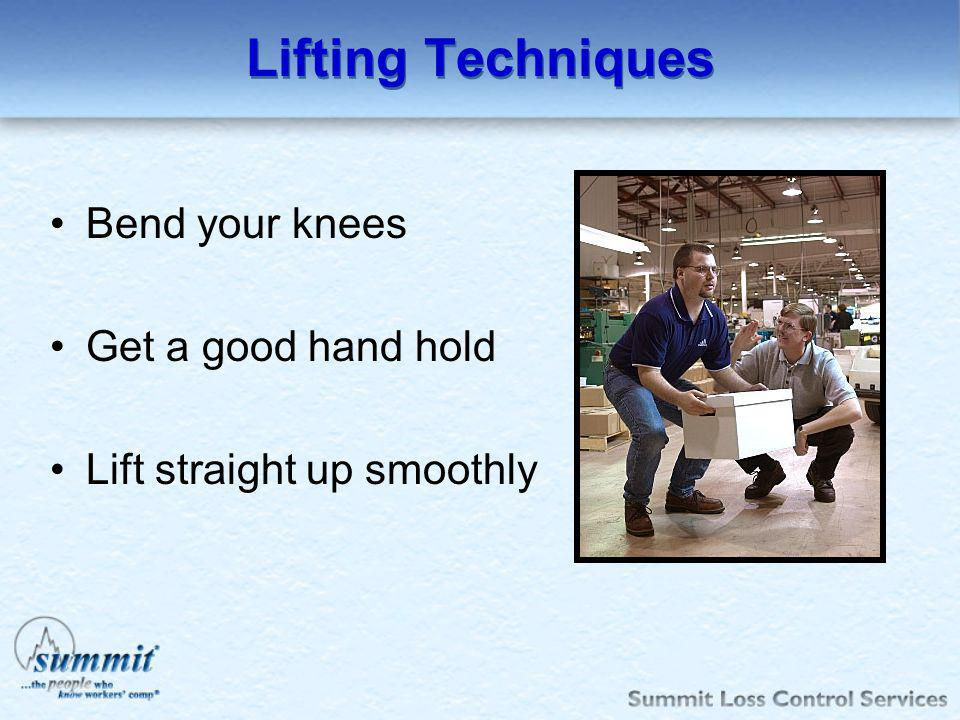 Lifting Techniques Bend your knees Get a good hand hold