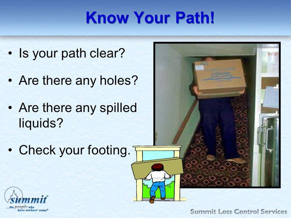 Know Your Path! Is your path clear Are there any holes