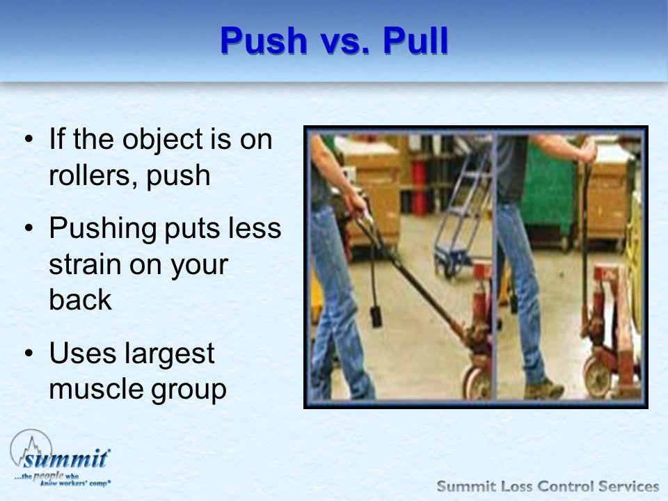 Push vs. Pull If the object is on rollers, push