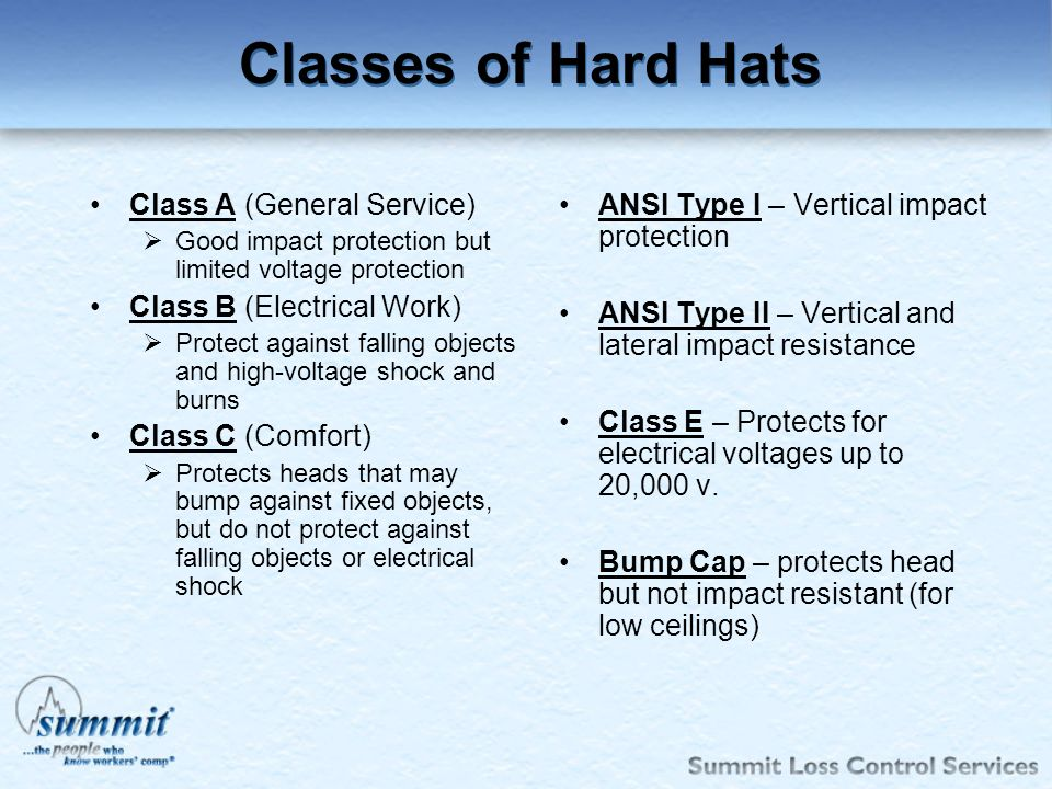Classes of Hard Hats Class A (General Service)