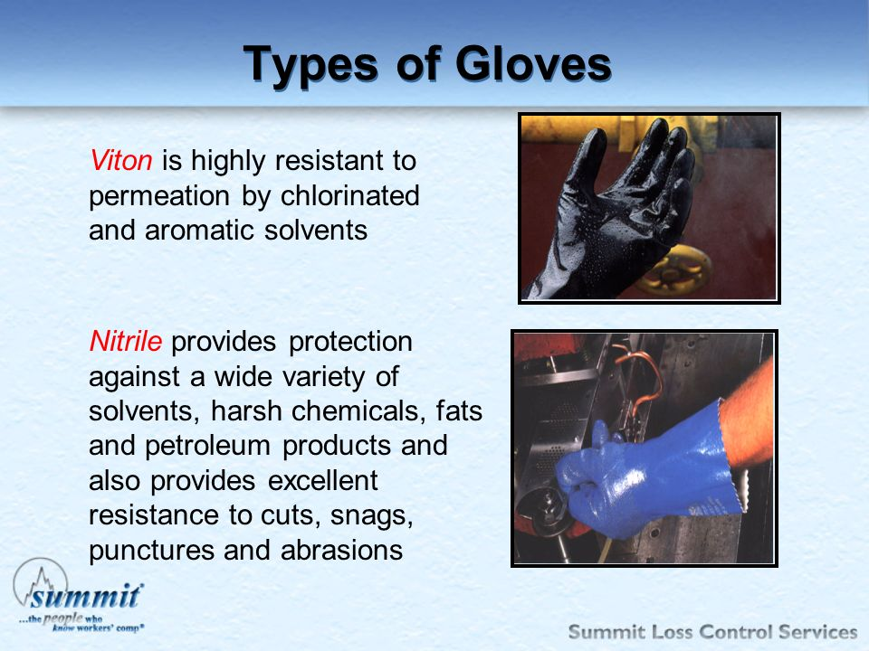 Types of Gloves Viton is highly resistant to permeation by chlorinated and aromatic solvents.