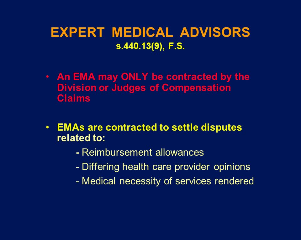 EXPERT MEDICAL ADVISORS s.440.13(9), F.S.