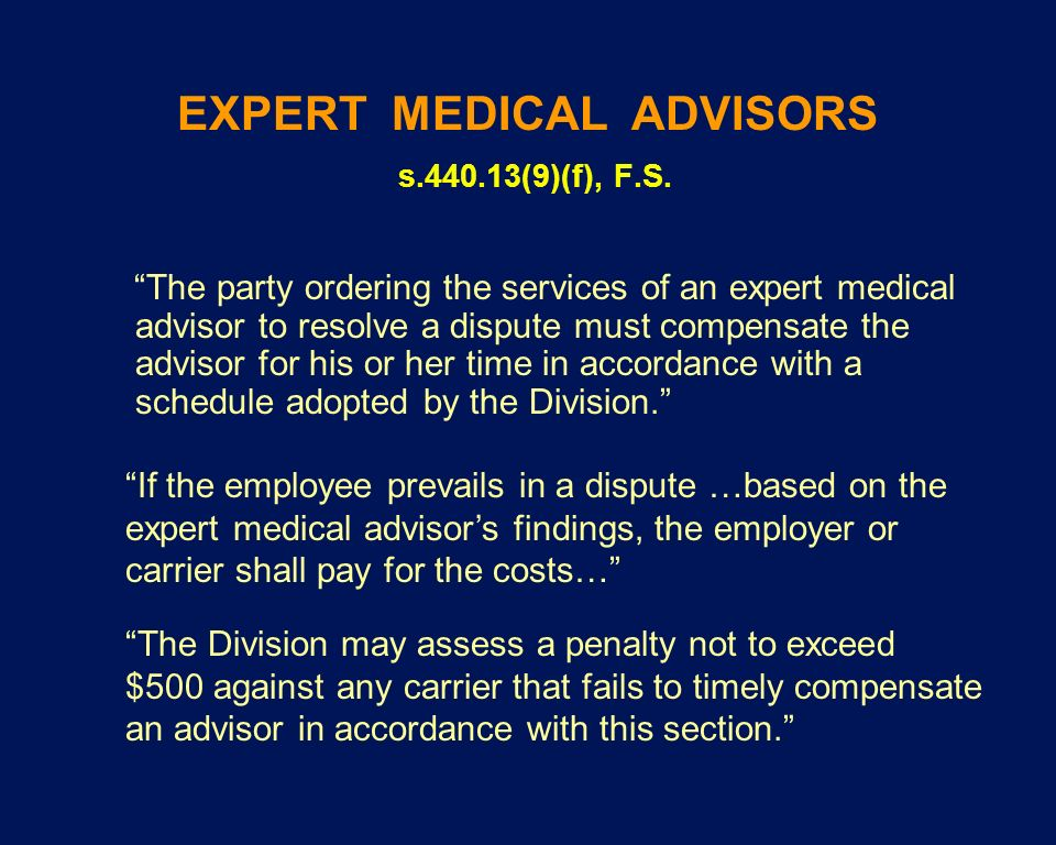 EXPERT MEDICAL ADVISORS s.440.13(9)(f), F.S.