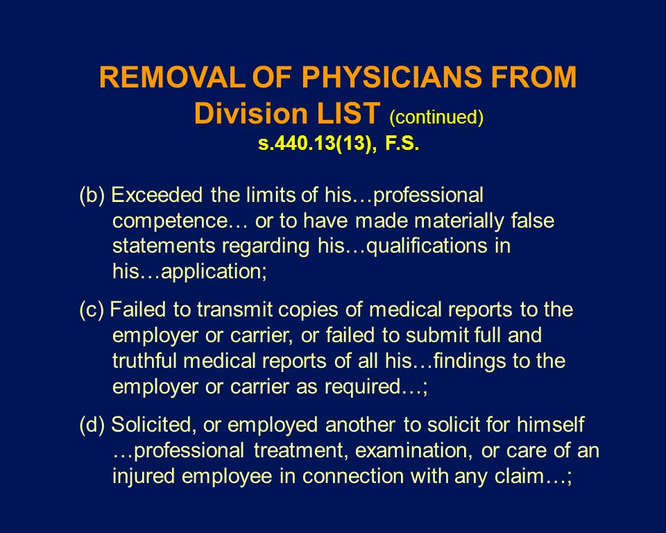 REMOVAL OF PHYSICIANS FROM Division LIST (continued)