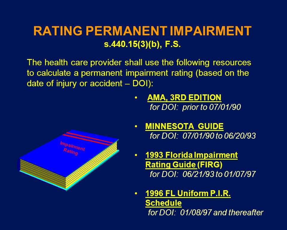 RATING PERMANENT IMPAIRMENT s.440.15(3)(b), F.S.