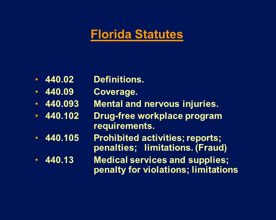 Florida Statutes Definitions Coverage.