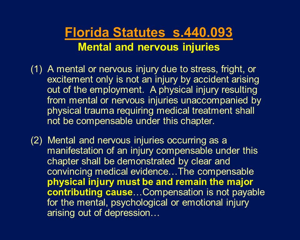 Mental and nervous injuries