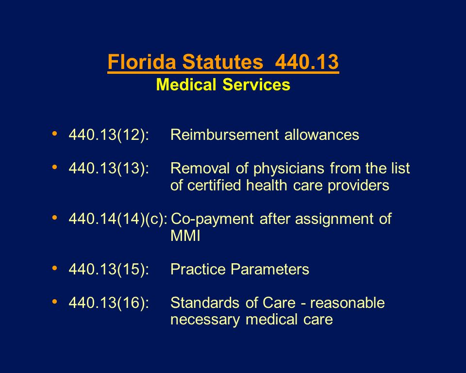 Florida Statutes 440.13 Medical Services