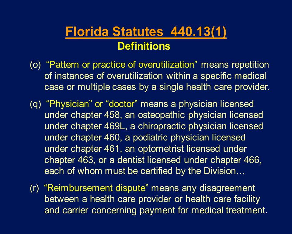 Florida Statutes 440.13(1) Definitions