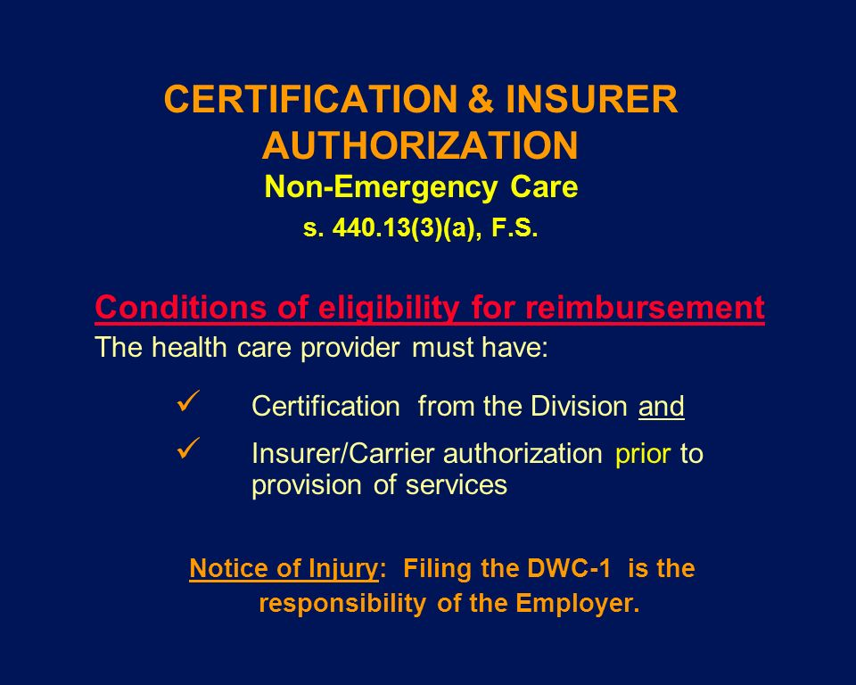 CERTIFICATION & INSURER AUTHORIZATION Non-Emergency Care s. 440