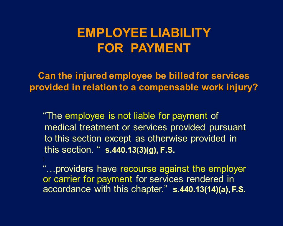 EMPLOYEE LIABILITY FOR PAYMENT