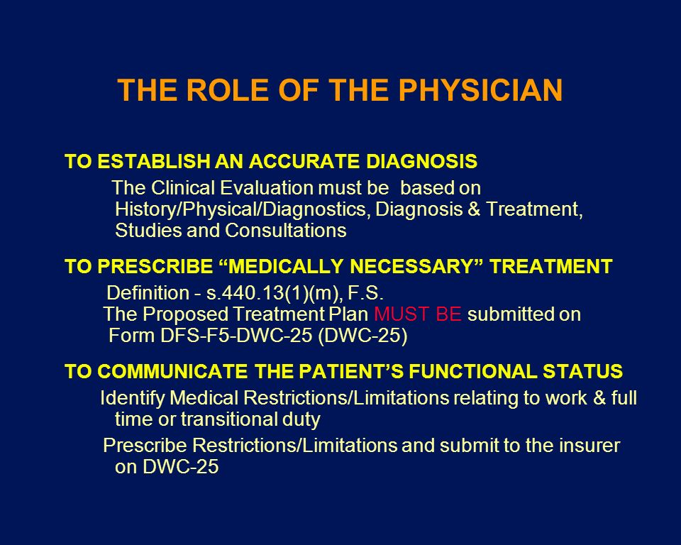 THE ROLE OF THE PHYSICIAN