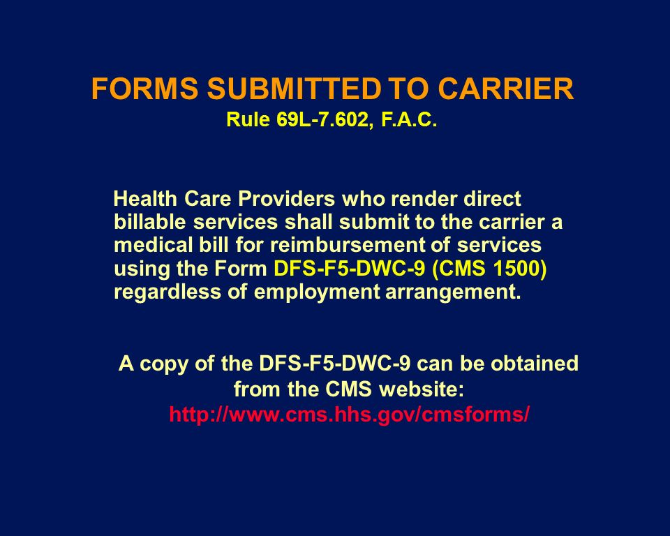 FORMS SUBMITTED TO CARRIER Rule 69L-7.602, F.A.C.