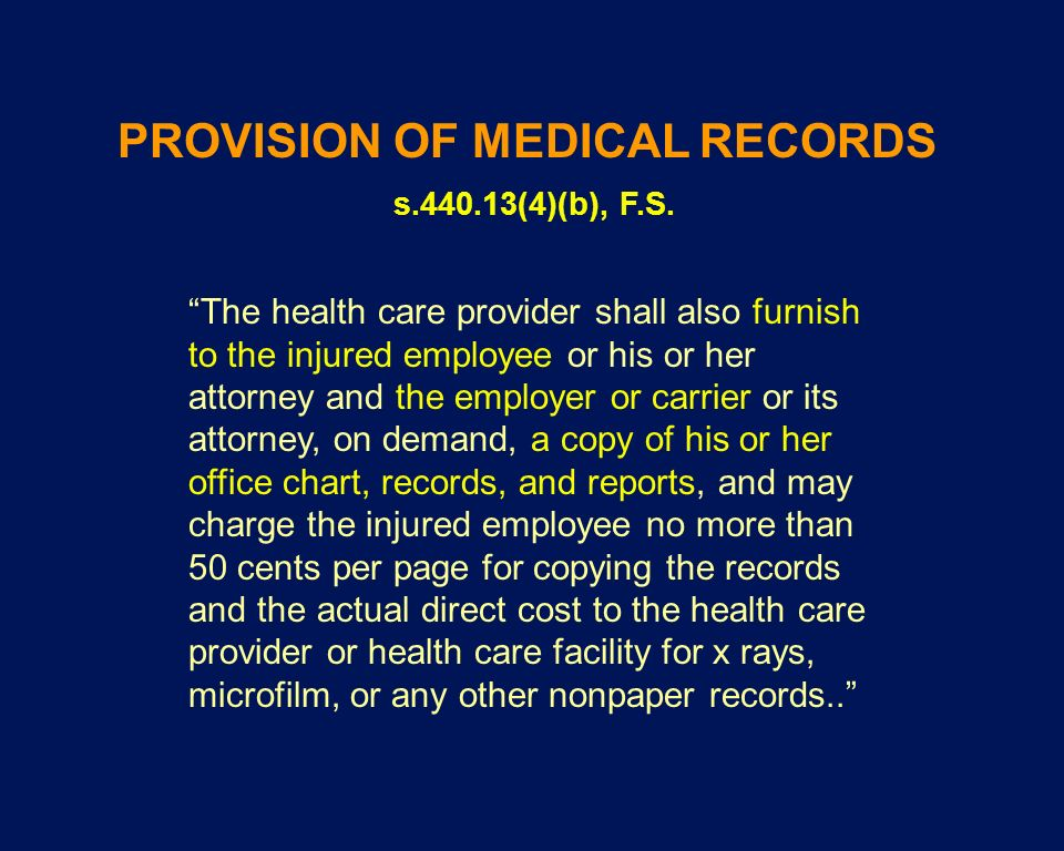 PROVISION OF MEDICAL RECORDS s (4)(b), F.S.