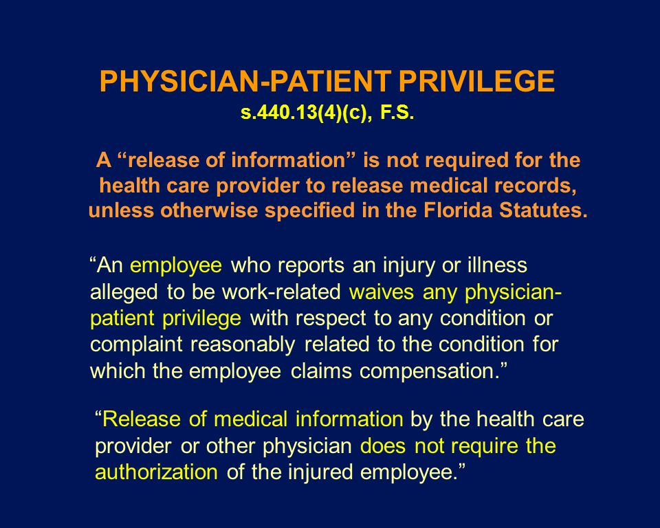PHYSICIAN-PATIENT PRIVILEGE s (4)(c), F.S.