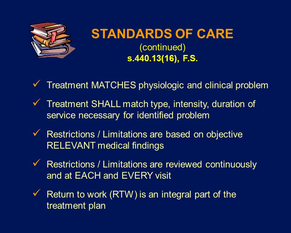 STANDARDS OF CARE (continued)
