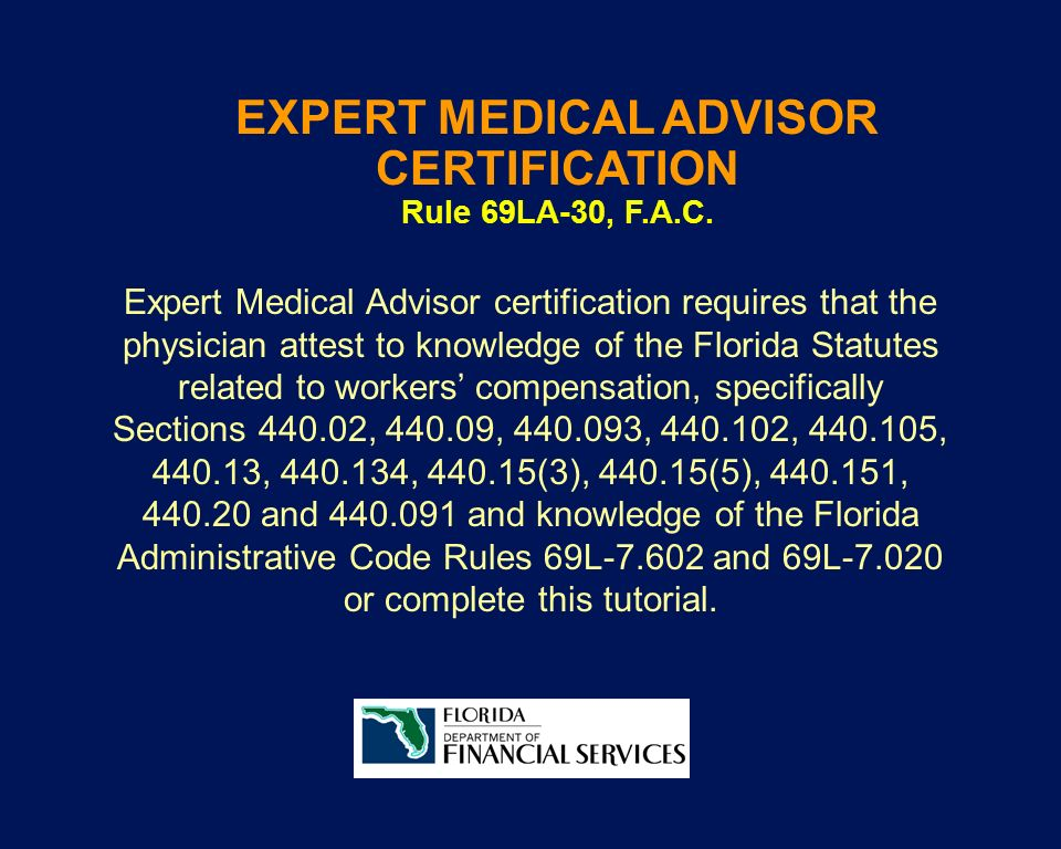 EXPERT MEDICAL ADVISOR CERTIFICATION