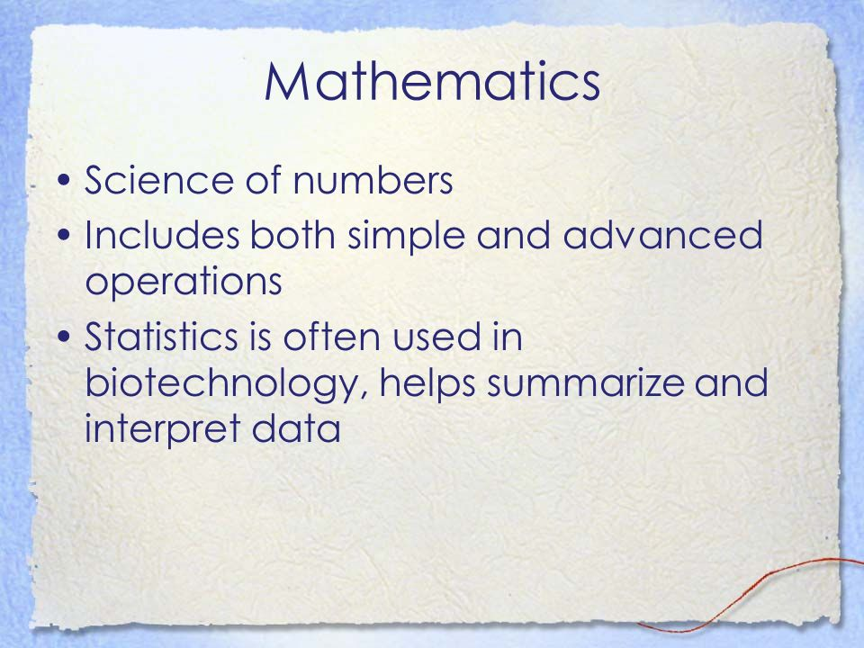 Mathematics Science of numbers