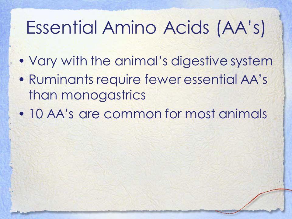 Essential Amino Acids (AA's)