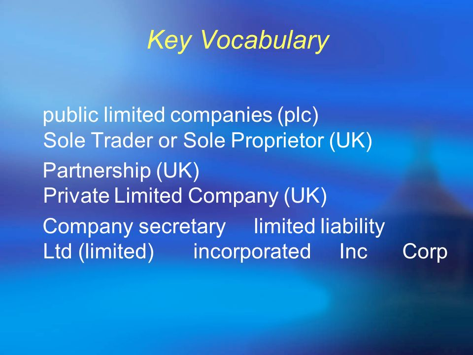 Key Vocabulary public limited companies (plc) Sole Trader or Sole Proprietor (UK)