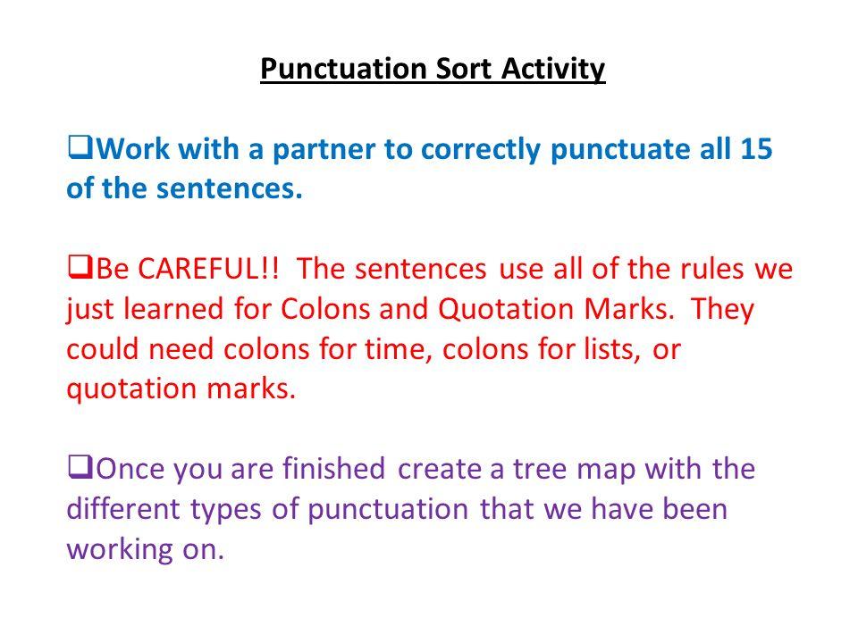 Punctuation Sort Activity