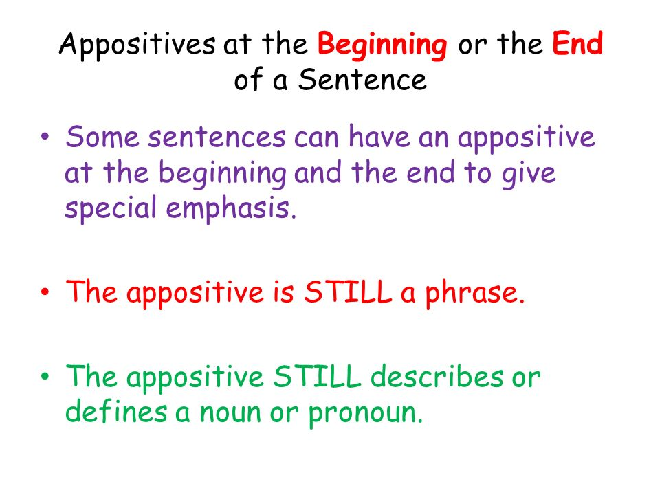 Appositives at the Beginning or the End of a Sentence