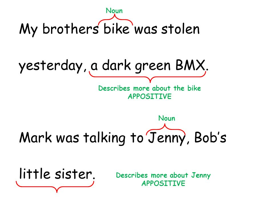 Describes more about the bike Describes more about Jenny