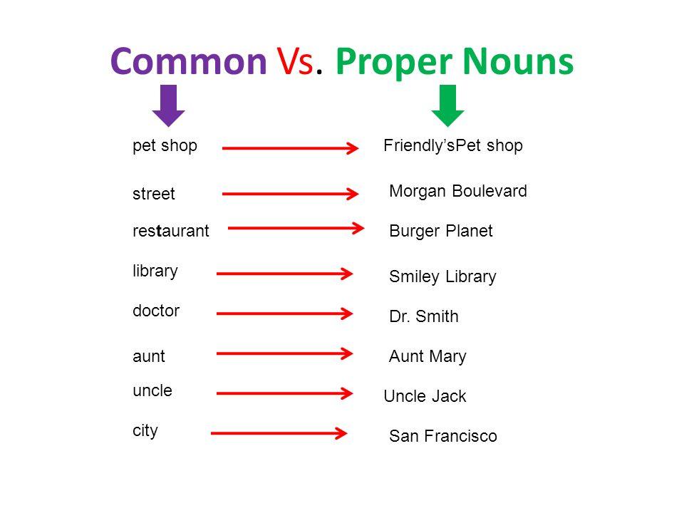 Common Vs. Proper Nouns pet shop Friendly'sPet shop street