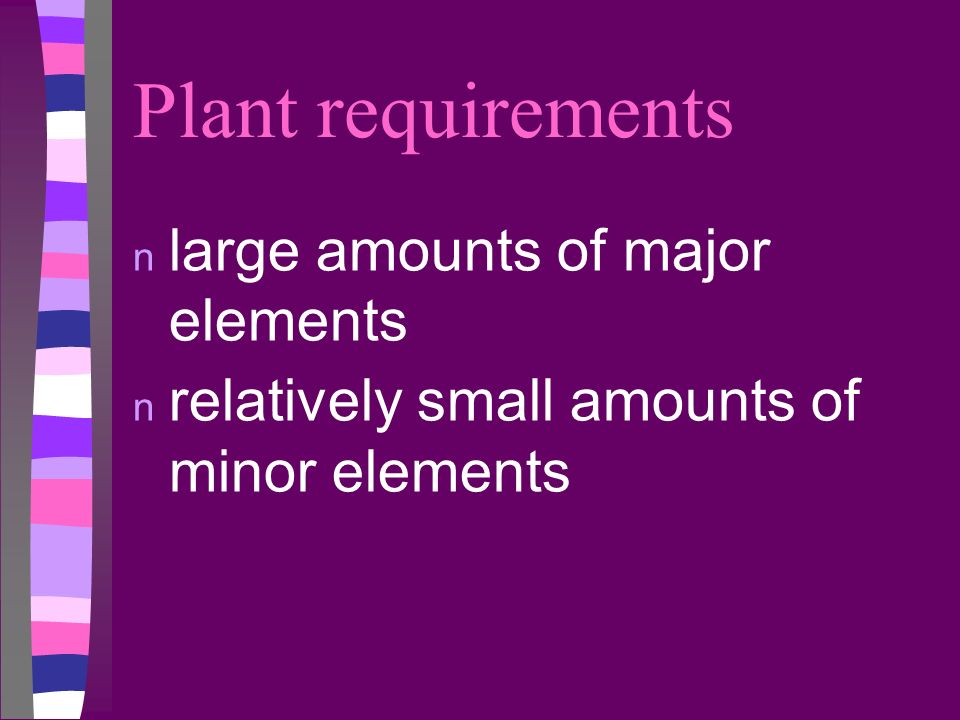 Plant requirements large amounts of major elements