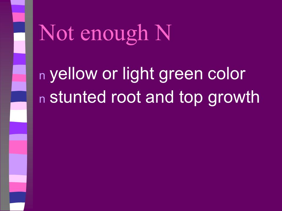 Not enough N yellow or light green color stunted root and top growth
