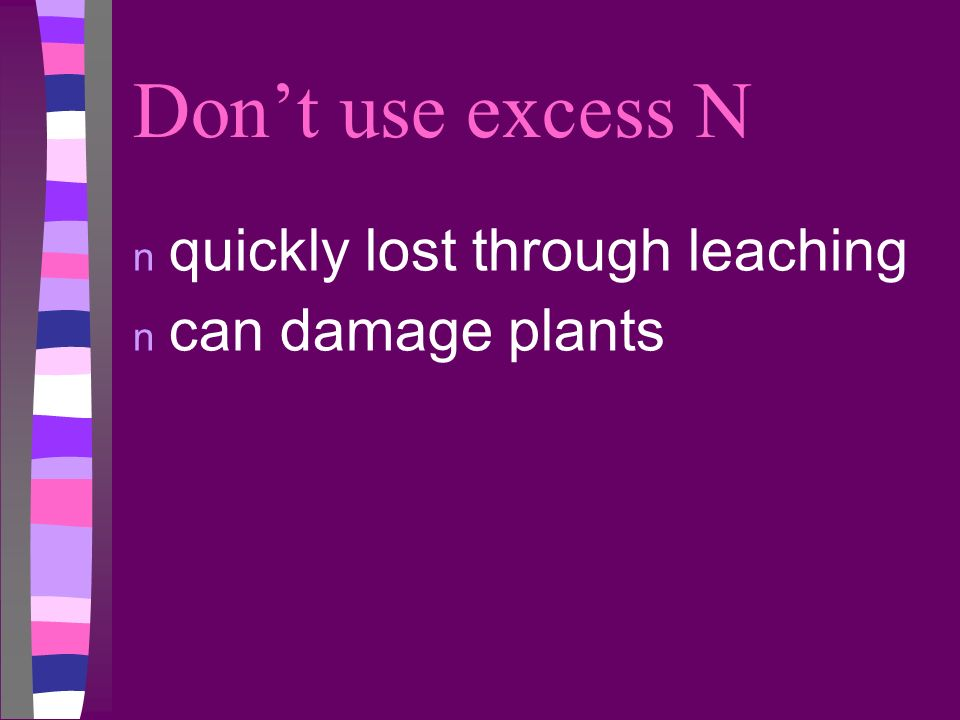 Don't use excess N quickly lost through leaching can damage plants