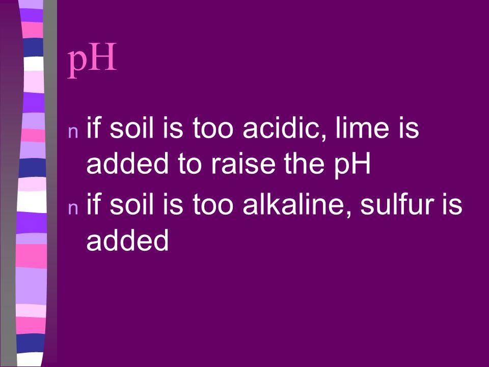 pH if soil is too acidic, lime is added to raise the pH