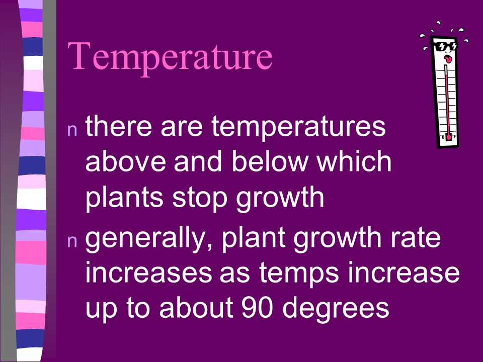 Temperature there are temperatures above and below which plants stop growth.